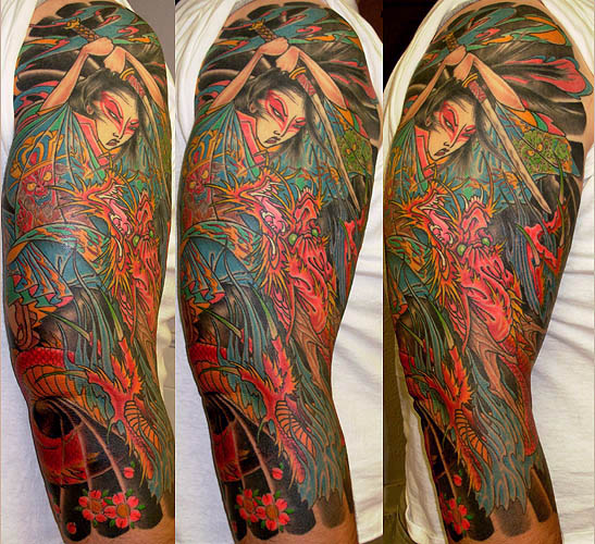 dragon sleeve tattoo. Dragon Warrior Battle Sleeve