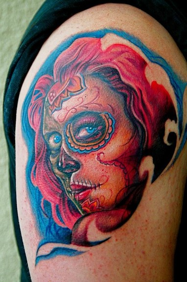 sugar skull girl tattoos tattoo designs. Black Bedroom Furniture Sets. Home Design Ideas