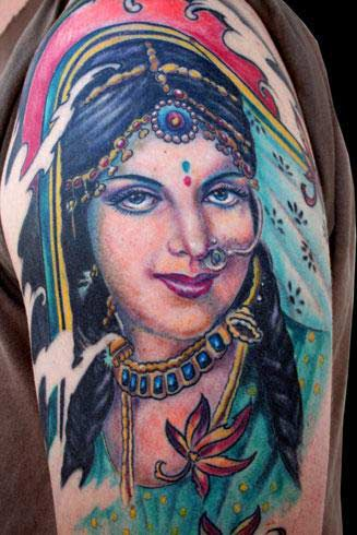 woman tattoo. Hindu Woman Portrait Tattoo