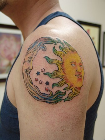 Comments: This stylized sun and moon tattoo was a lot of fun to work on.
