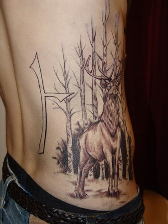 Tattoos Custom. Stag, Golden Eagle and Beithe