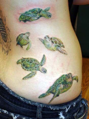 Tattoos. Tattoos Realistic. Sea Turtles swimming