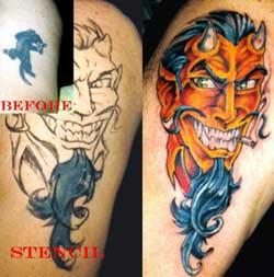 Devil coverup by billy webb ii tattoonow for Evolution tattoo studio