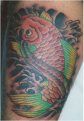 Latin letters tattoos tattoo designs for men angel skull for Tiny koi fish