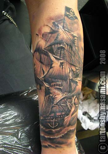 PIRATE SHIP TATTOO SKETCH by masami @ GEMINI TATTOO Philadelphia PA 19116