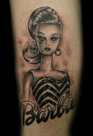 Tattoos. Tattoos Black and Gray. Original Barbie Doll Tattoo