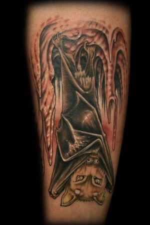 George Perham - Upside Down Bat Tattoo