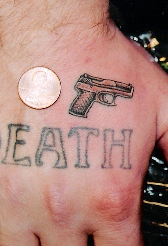 Tattoos. Small Tattoos. Mini Hand Gun