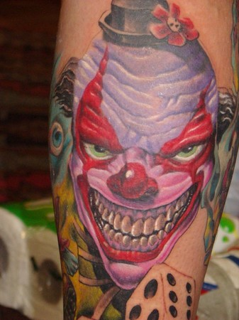 The original pattern for the modern clown tattoo is the jester which is also