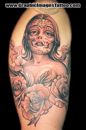 Kris Thomas aka Shylock Von Tooth - Sugar Skull Pin Up Large Image · Tattoos