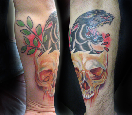 Foot Tattoos : Black Panther and Skull Tattoos