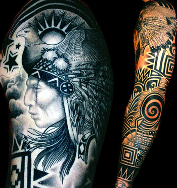 native american sleeve tattoos