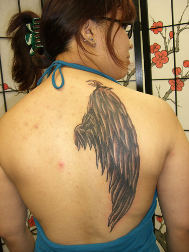 Adam Chiodo Wing Leave Comment Placement Arm Comments Tattoo by artist
