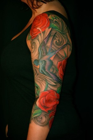 Looking for unique tattoos swallows roses 3 4 sleeve for 3 4 sleeve tattoo
