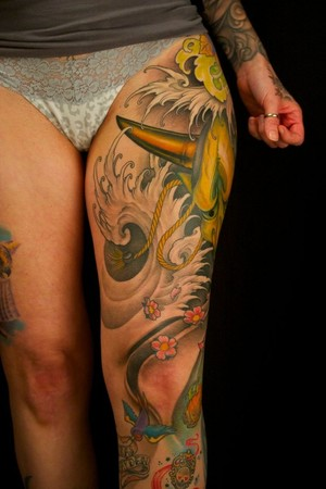 Thigh Tattoos on Worlds Best Tattoos   Tattoos   Flower   Hannya Thigh Piece
