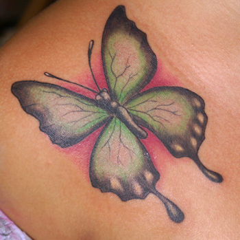 Blue Butterfly tattoo. Finished Butterfly Tattoo In Sayulita Mexico