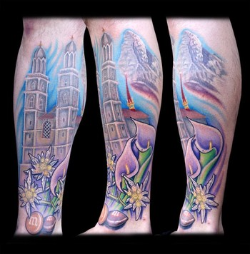 lower leg tattoos. be a lower leg sleeve.