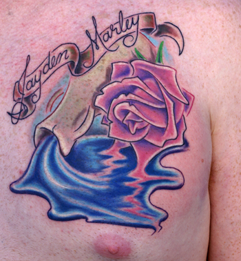 This is a tattoo for his daughter showing her name and a vessel spilling