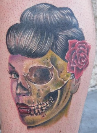 Jon von Glahn - Half Dead Zombie Geisha Girl Tattoo