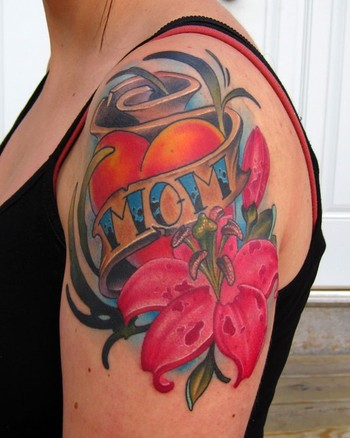Jon von Glahn - mom heart pink lillies arm tattoo