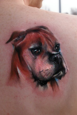 chance to tattoo a portrait of a pet. Joshua Carlton - Boxer portrait