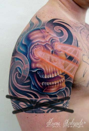 Comments: Skull half sleeve tattoo. Juan Salgado - Skull Half Sleeve