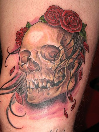 Skull n roses tattoo by Phosphoratus tattoo designs skulls