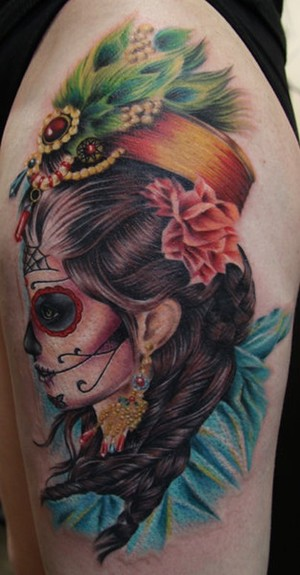 girl skull tattoos. day of the dead skull tattoos.