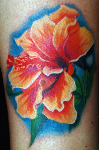 Hibiscus. Placement: Leg Comments: Hibiscus Flower on leg