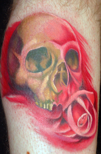 Comments: Skull and rose on calf. Keyword Galleries: Color Tattoos,