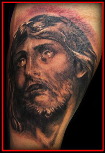 The Jesus face tattoo pictured here, is a symbol of eternal love and it also