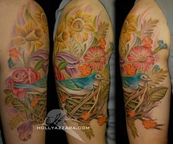 Looking for unique Tattoos? Vintage Bird with Wild Flowers ... Vintage Flower Tattoo Sleeve