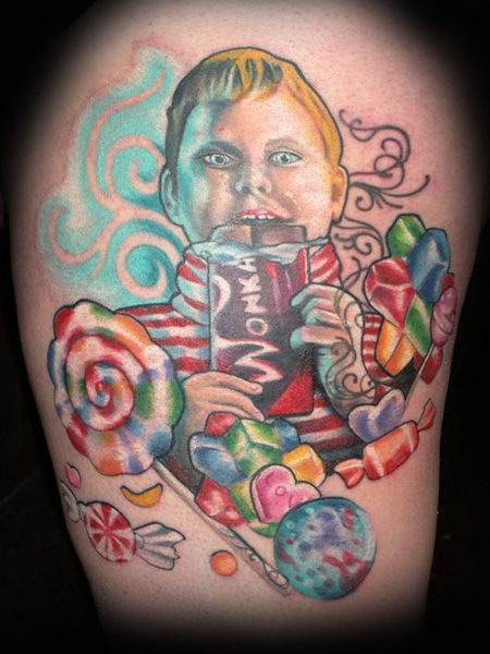 Marcia · candy tattoo flash. Augusta Gloop and Candy done at the Baltimore