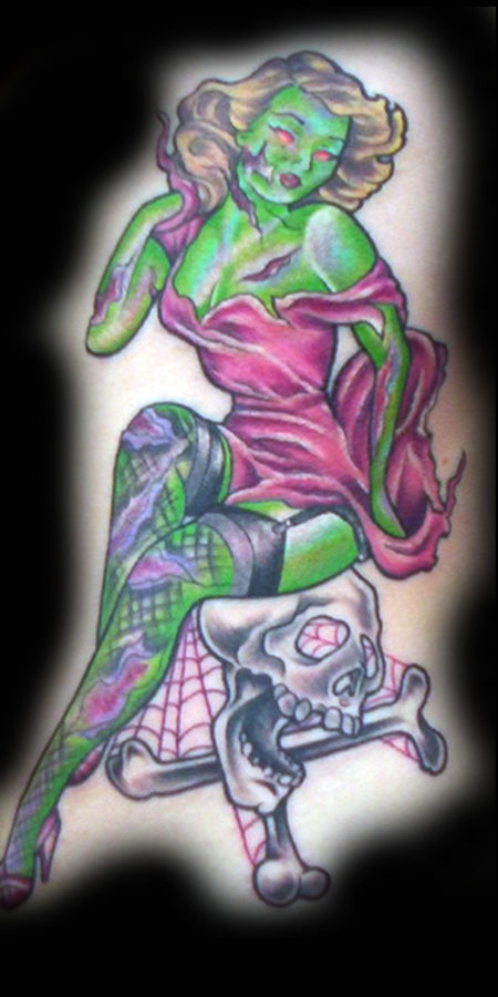 Looking for unique Evil Zombie tattoos Tattoos? Pin-Up Zombie Tattoo
