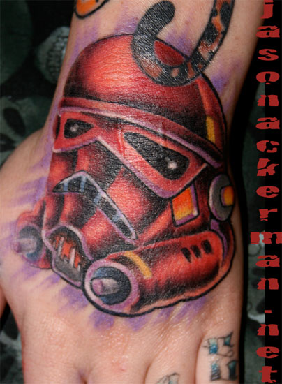 Jason Ackerman storm trooper hand tattoo Large Image Leave Comment