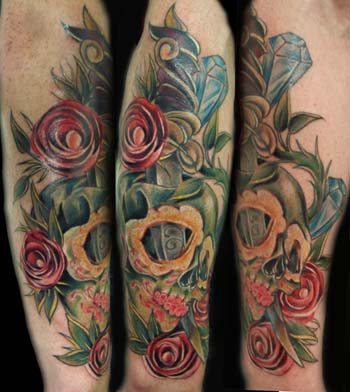 sugar skull and roses. Placement: Arm Comments: anither tattoo thats was