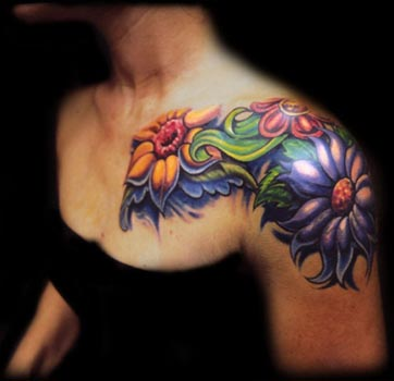 Comments: color flower chest shoulder tattoo