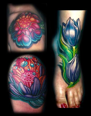 Comments: lotus tulip color flowers foot tattoo. Mike Cole - flower collage