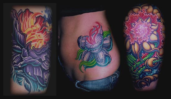 Comments: Bio organic flower daffodil color tattoo