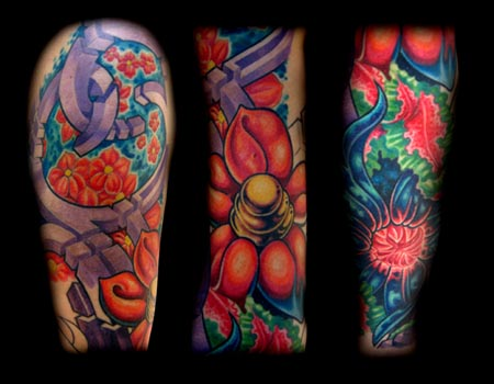 Comments: bio organic color flower sleeve tattoo