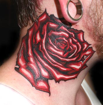 Rose tattoos, tattoo for mens, neck tattoos, neck rose tattoo