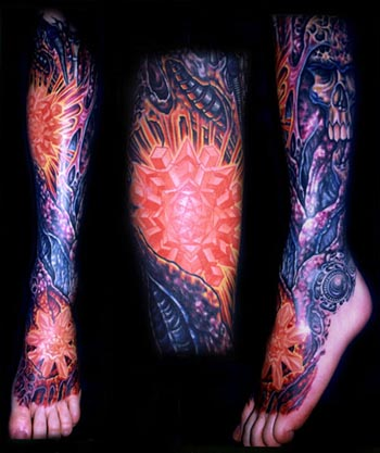 leg sleeve tattoos. star leg sleeve tattoo