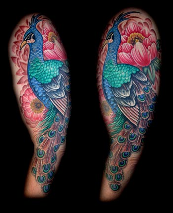 Tattoos. Tattoos Flower. peacock chrysanthemum sleeve