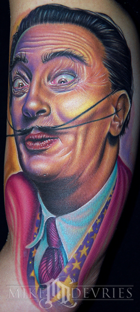 Mike DeVries - Dali Tattoo Leave Comment. Portrait of Salvador Dali.
