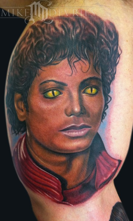 Michael Jackson Tattoo from Thriller, we added the cat eyes in there,