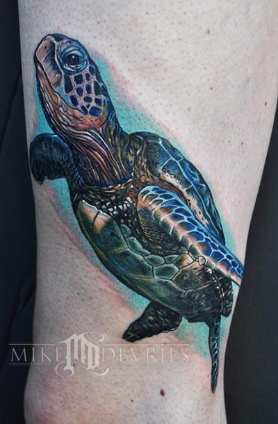Sea Turtle tattoo, done in about 4 and a half hours.