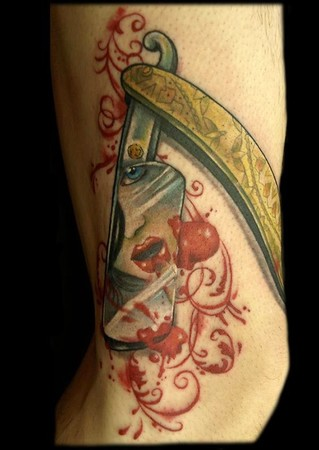 Straight Razor with Filigree Blood and Reflected face