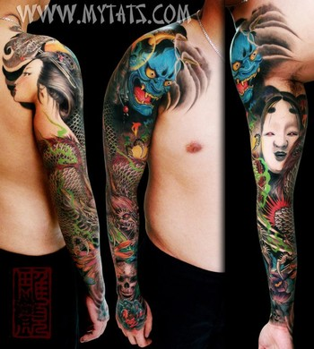 noh mask, geisha, dragon, skull and japanese flowers (Peony and