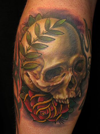 Nate Beavers - realistic skull with traditional rose