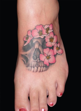 Picture Flower Tattoos on Off The Map Tattoo   Tattoos   Flower   Skull Blossoms